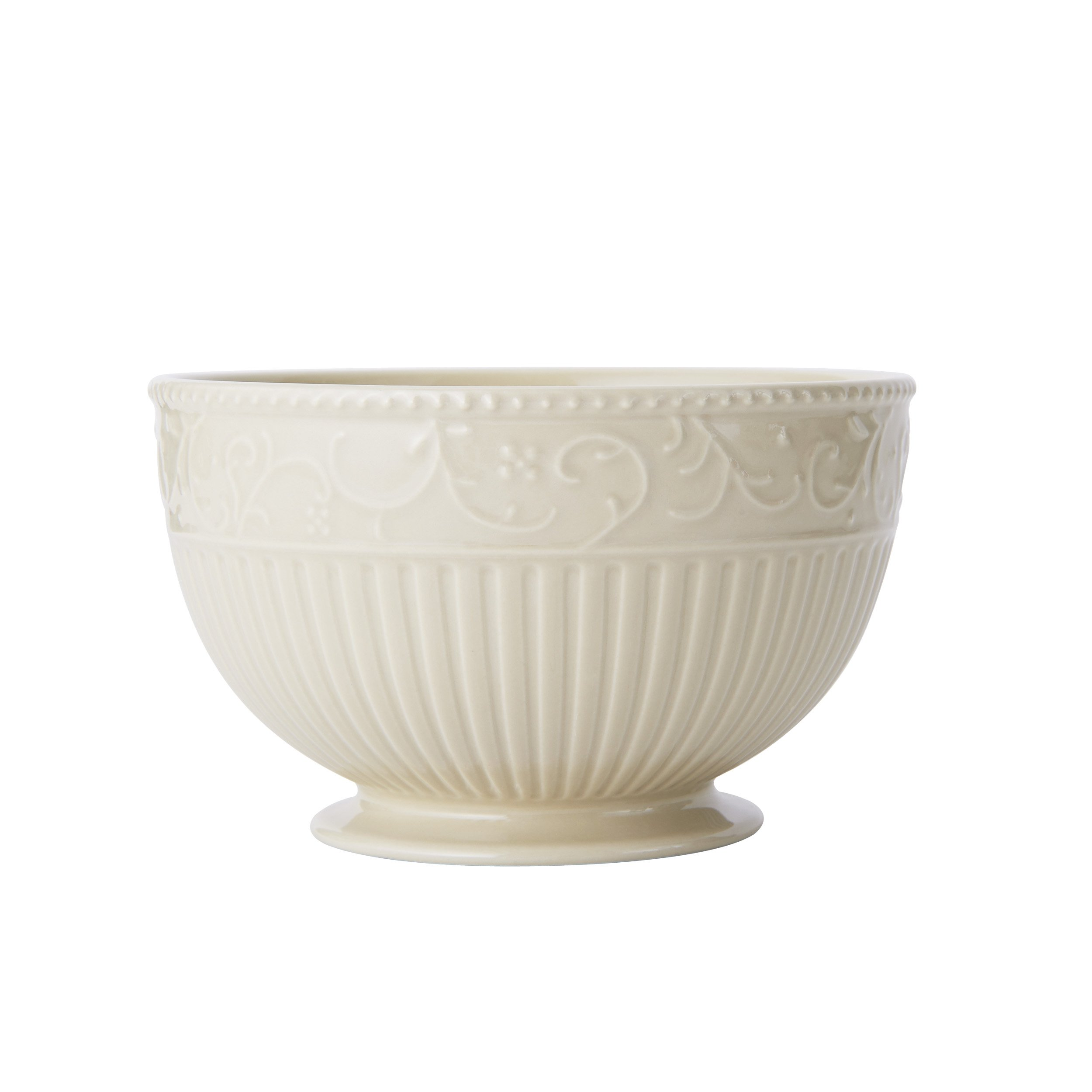 Mikasa Italian Countryside Accents Footed Soup/Cereal Bowl, Scroll Beige