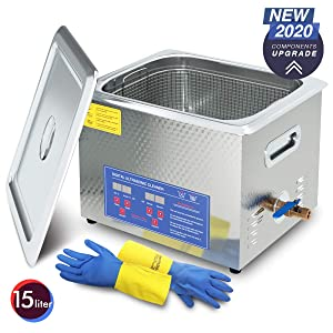 2020 Upgrade 600W Heated Ultrasonic Cleaner 15L Stainless Steel Sonic Bath for Guns Carburetors Injectors Parts and PCB with Free Rubber Gloves Gifts Use in Automotive and Firearm Industry DAREFLOW