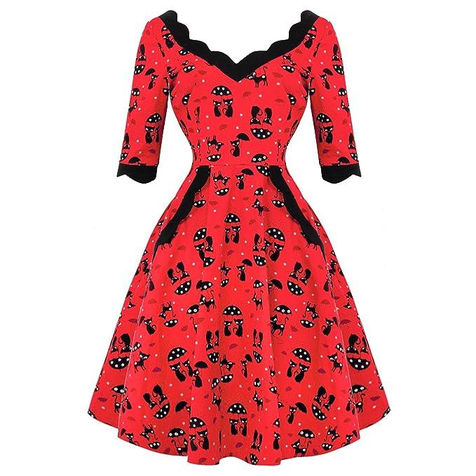 Voodoo Vixen Katnis Gato Rojo Rockabilly 1950s Retro Vintage Vestido de Fiesta Acampanado - Rojo y Negro, 8 S: Amazon.es: Ropa y accesorios