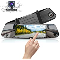 Mirror Dash Cam 1080P Full HD 7-inch IPS Touch Screen, Muson Dual Display Front and Rear Camera 170-degree Wide-Angle