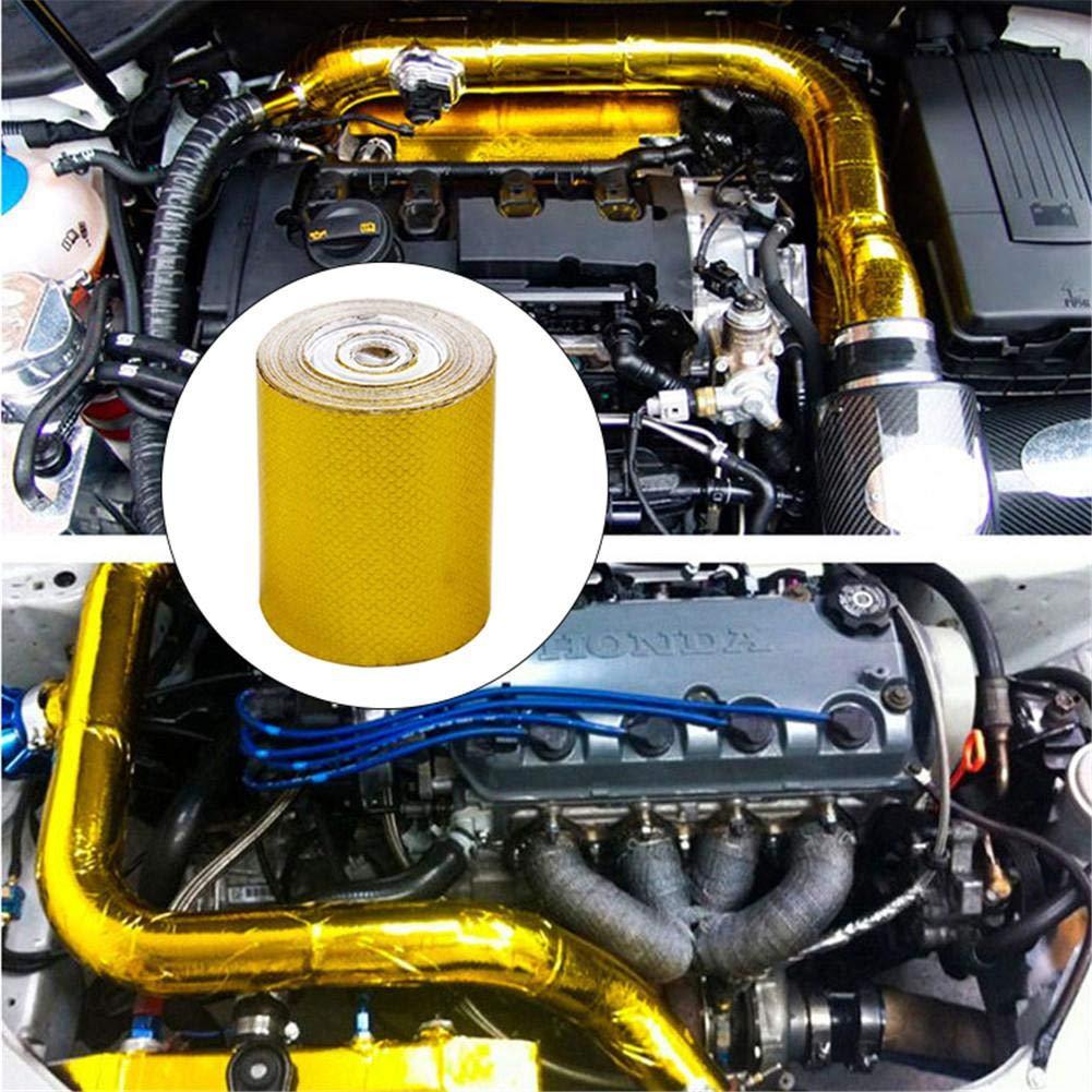 tubo di scappamento Nastro adesivo per auto nastro termoisolante resistente al calore adesivo in alluminio nastro in alluminio multiuso Giallo per garantire un forte collegamento impermeabile