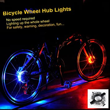 Bike LED Light Cycling Hubs Front Rear Bicycle Warning Lamp Spoke Decoration New