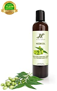 100% Organic NEEM Oil by Velona | All Natural, Virgin, Cold Pressed Oil Great for Hair, Body and Skin Care | Unrefined | Size: 8 oz