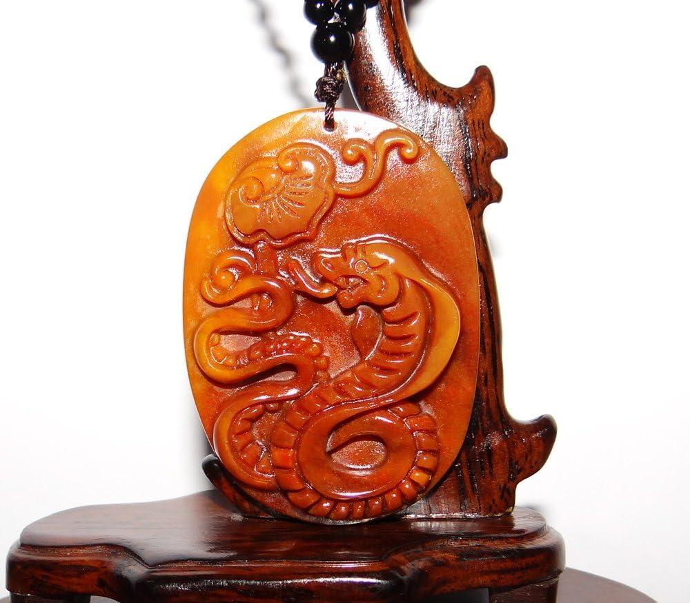 JL - Collar con Colgante de dragón de Jade Amarillo, diseño de Serpiente de 6,35 cm