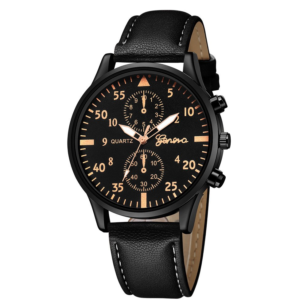 Zaidern Watches Men,Men's Watch Luxury Casual Military Alloy Analog Quartz Wristwatches Classical Business Dress Retro Simple Design Waterproof Leather Band Round Dial Wrist Watches