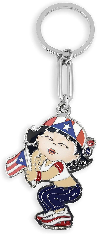 Puerto Rico Flag Girl Keychain Bandera de Puerto Rico Nina llavero