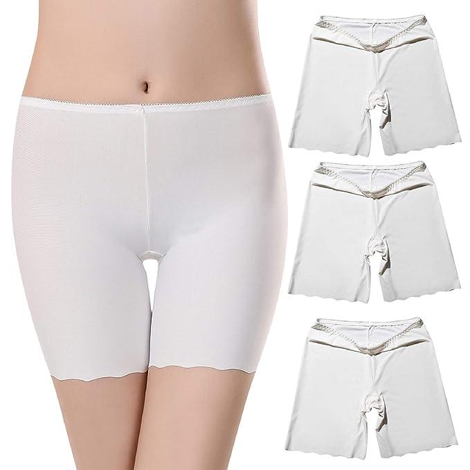 Voqeen 3 Pares de Mujeres Debajo de la Falda Pantalones Seda de Hielo Pantalones de Seguridad Suave Ajuste Leggings Pantalones Cortos de Yoga Plus ...