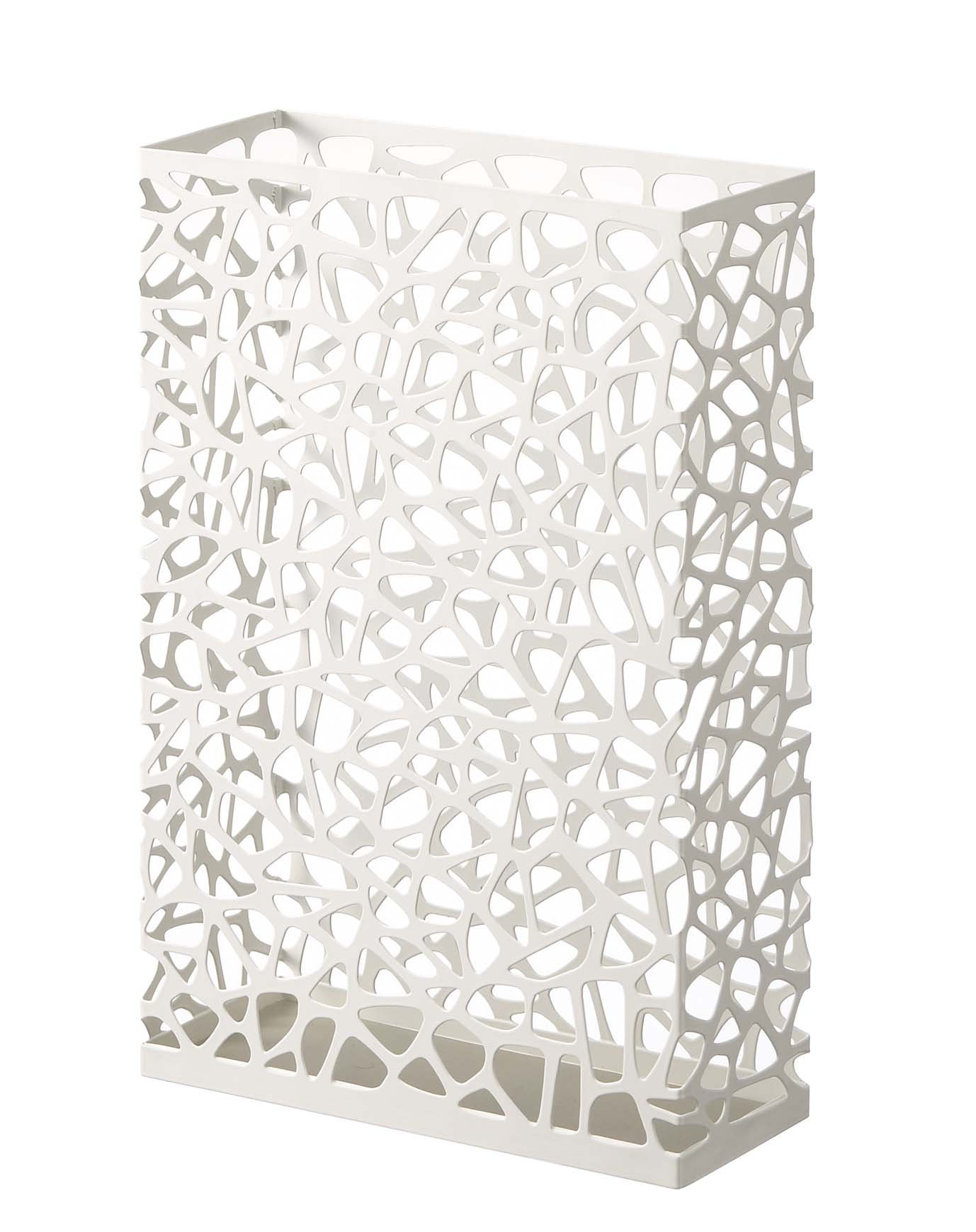 Nest - White Metal Rectangular Umbrella Stand by Umbrella Organizers