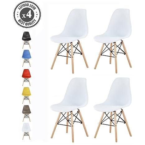 MCC Moderno diseño silla Eames estilo, Lia, Blanco, Set 4