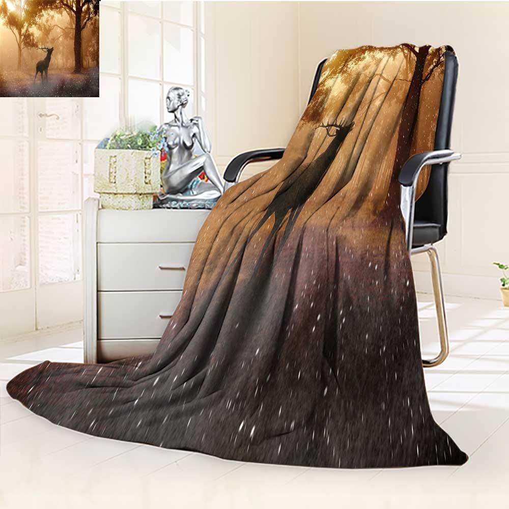 YOYI-HOME Duplex Printed Blanket, Deer, Sunshine, Woods, Fresh Background Warm Microfiber All Season Warm Elegant Cozy Fuzzy Fluffy Faux/86.5'' W by 59'' H