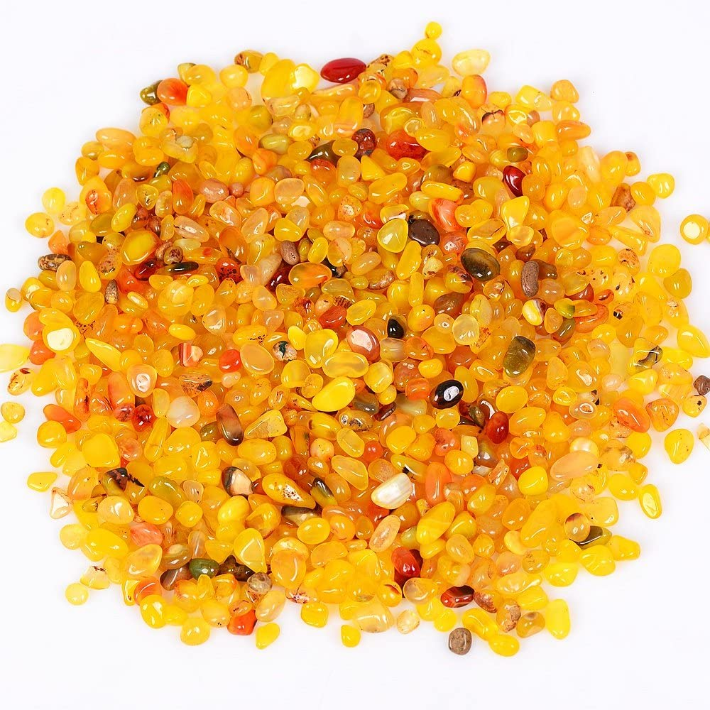 OCN-HEALING 200g Crystal Tumbled Polished Natural Agate Gravel Stones for Plants and Crafts - Small Size - 7mm to 9mm Avg (Yellow Agate) : Garden & Outdoor