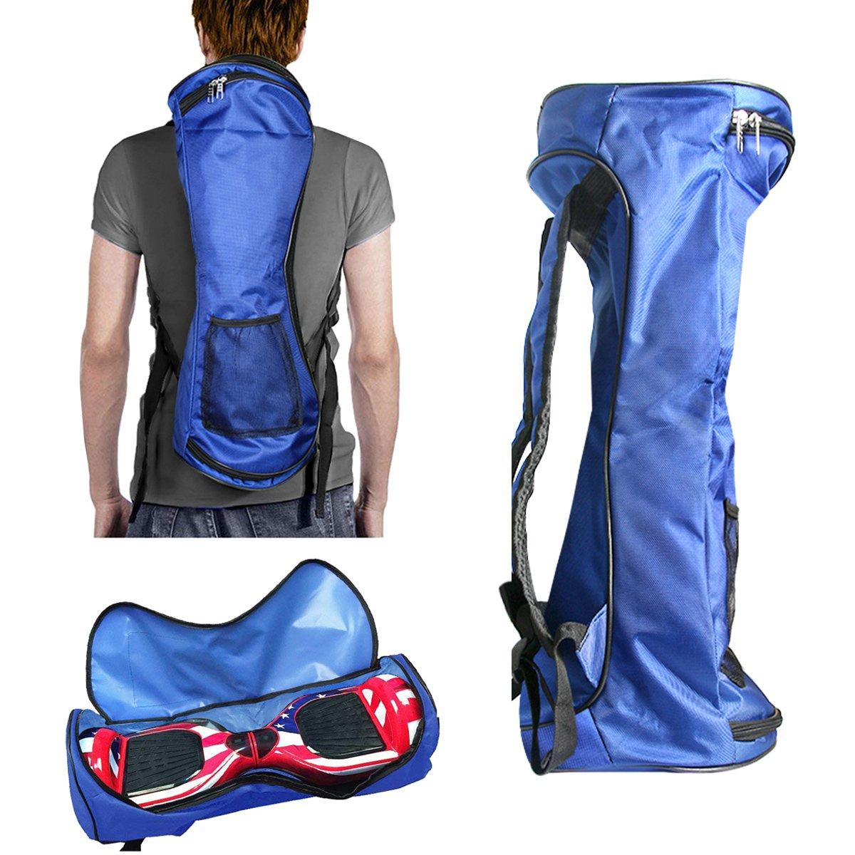 GameXcel Self-Balancing Scooter Carrying Backpack Bag for 6.5'' 7'' and 8'' Two-Wheel Hover Electric Skate Board Smart Balancing Scooters Storage Mesh Pocket Adjustable Shoulder Strap Blue