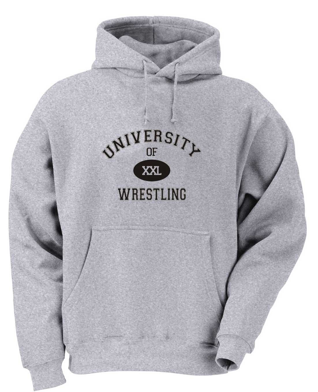 UNIVERSITY OF XXL WRESTLING Youth Hooded Sweatshirt (for Kids) ASH GREY LARGE