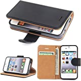 iPhone 4S Case - SOWOKO iPhone 4 Leather Wallet Case Slim Flip Case, Shockproof Protective Phone Cover for Apple iPhone 4S/4 (Black)
