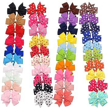 40 Pieces Baby Girls Ribbon Polka Dot Hair Bow Alligator Hair Clips For Girl