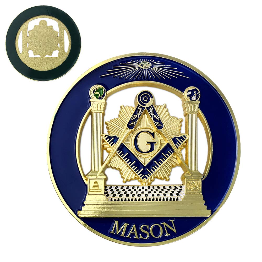 Amazon com square compass round masonic car emblem badge blue gold freemason auto decal toys games