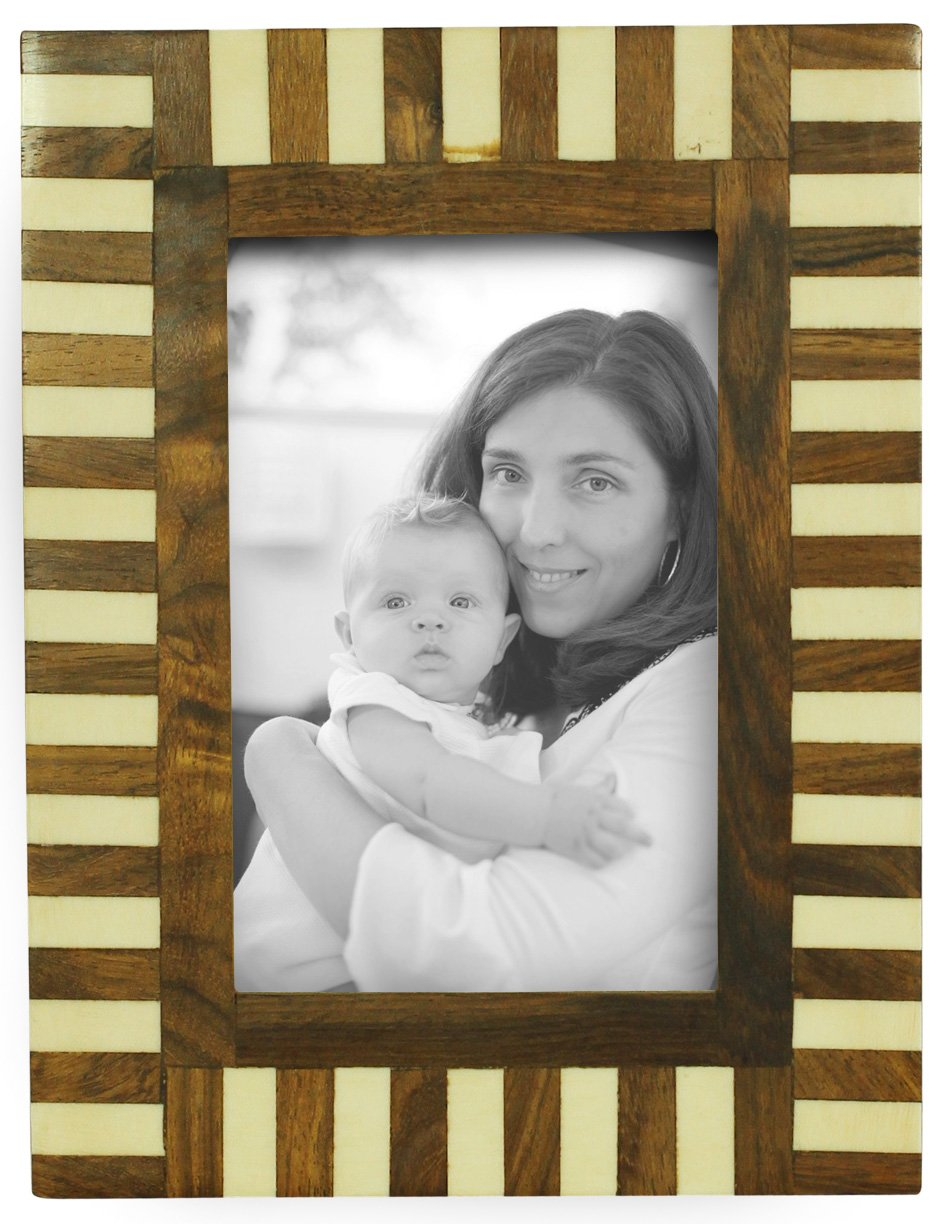 SouvNear 4x6 inch (10x15cm) Ornate Photo Picture Frame - Decorative Handmade Vintage Look Brown & White Stripes - Bone & MDF Photo Frame with Stand - Home Decor Accessories SS-SN-190803056646