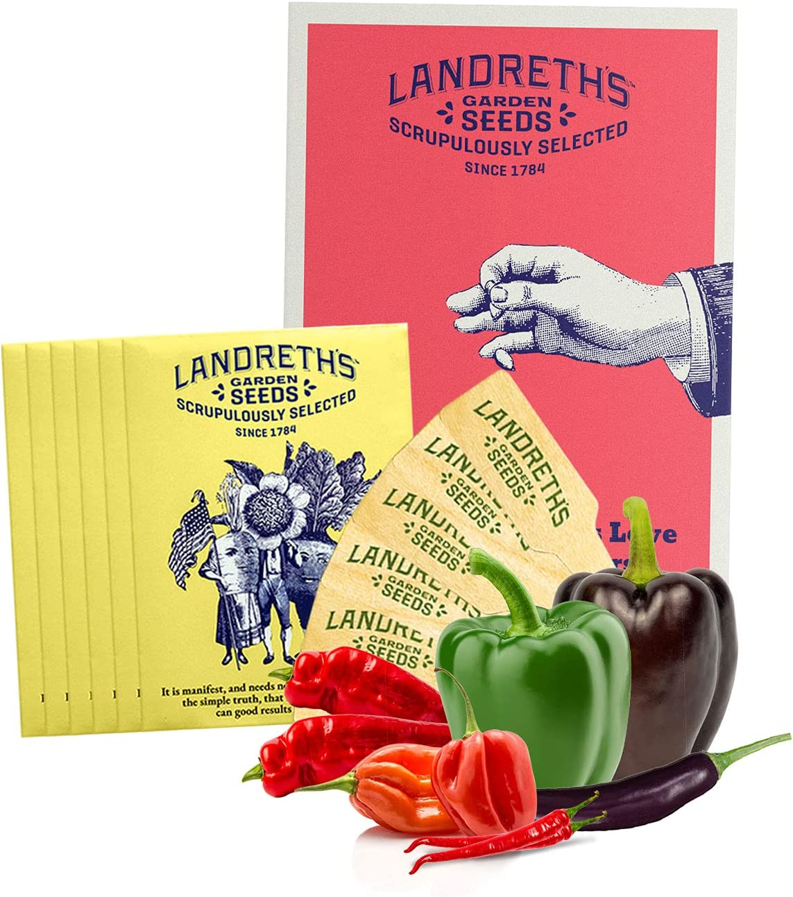 Landreth's Heirloom Vegetable Seed Starter Kit Bundle - Sweet and Spicy Hot Peppers 6 Variety Pack - Non-GMO Easy to Grow Kit for Planting Outdoors Garden Seed Collection with Guide