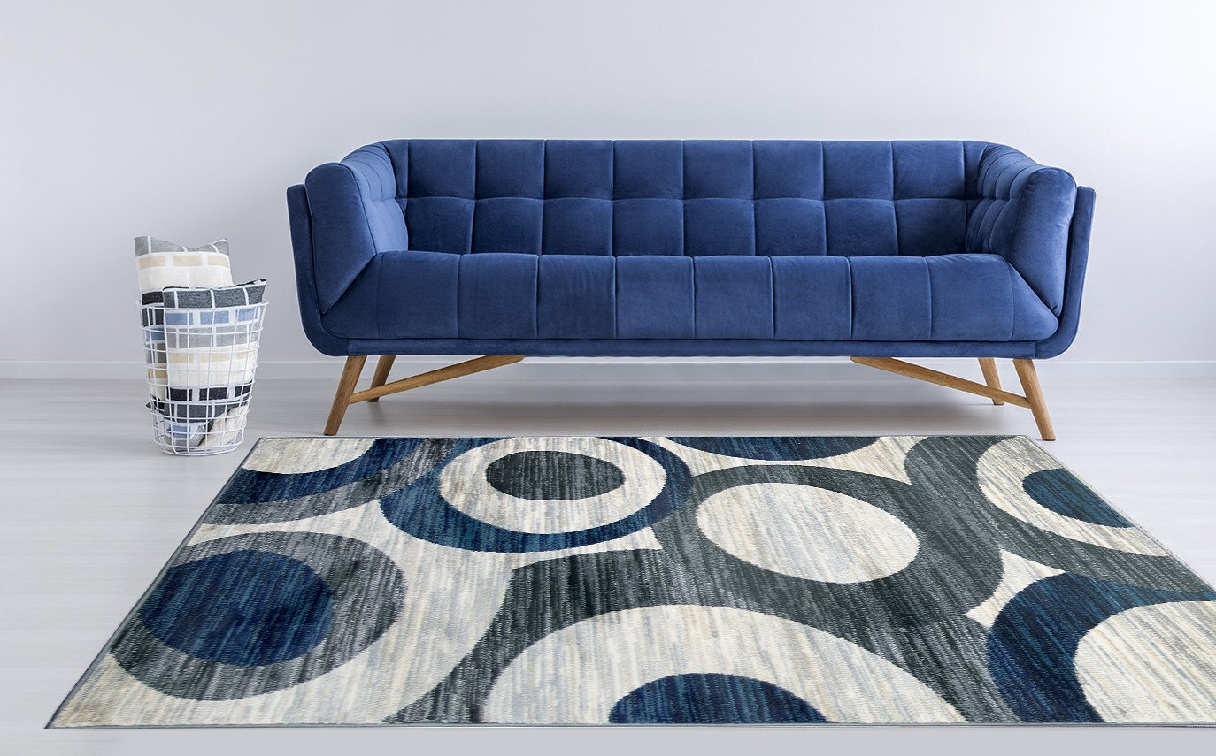 2 x 5, 5746A - Blue Grey Ivory ADGO Atlantic Collection Modern Contemporary Abstract Geometric Circles Squares Swirls Living Dining Room Runner Rug