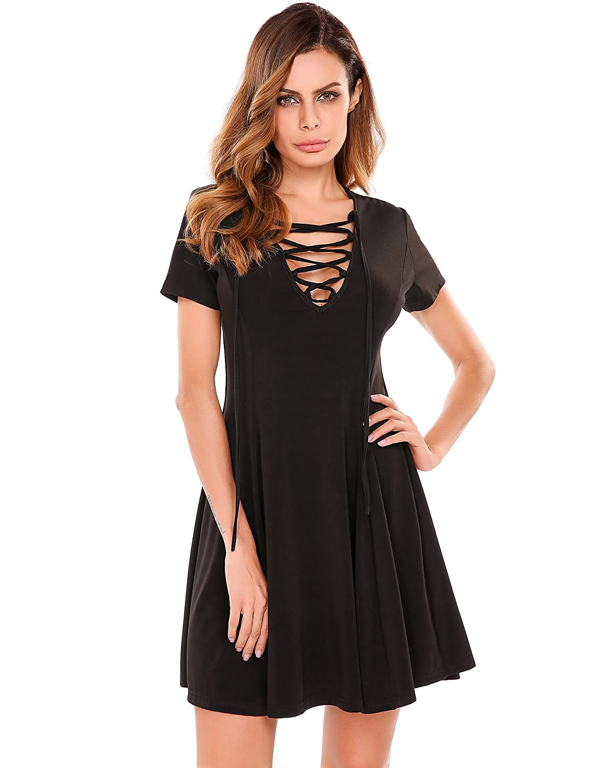 Meaneor Lace Up Short Sleeve Summer Casual Tunic Swing Skater Dress at  Amazon Women s Clothing store  ae0a9abbf