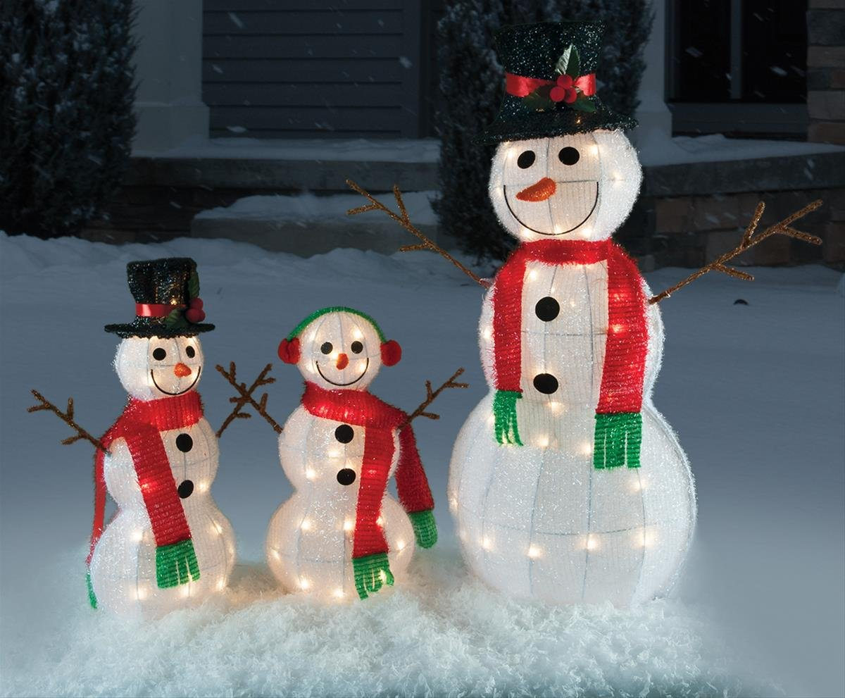 Christmas 3pc Tinsel Snowman w/ Stick Arms Family Holiday Decoration by ghi