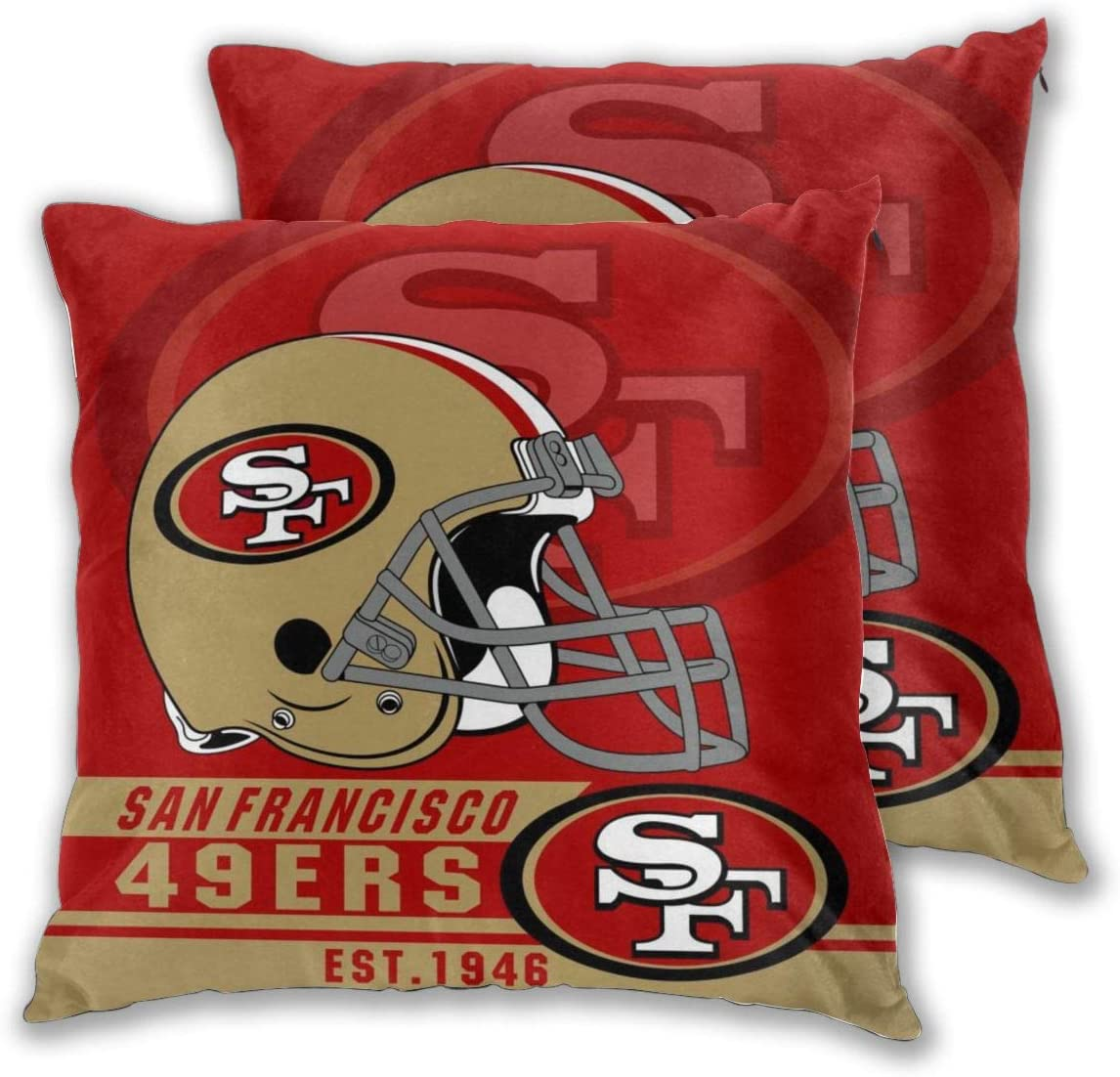 Marrytiny Custom Colorful Set of 2 Pillowcase San Francisco 49ers American Football Team Bedding Pillow Covers Pillow Cases for Sofa Bedroom Home Decorative - 18x18 Inches
