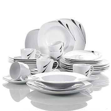4e5771c2c3c8b VEWEET Service de Table en Porcelaine 30 pièces 'Karla' pour 6 Personnes |  Service