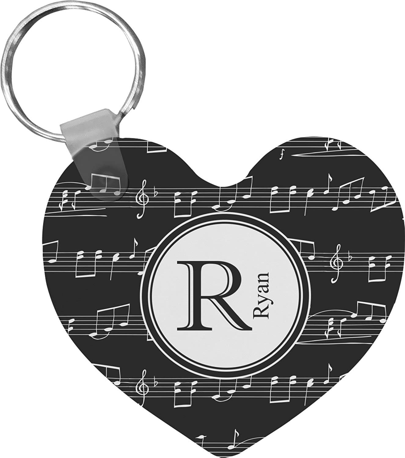 Musical Notes Heart Keychain (Personalized)