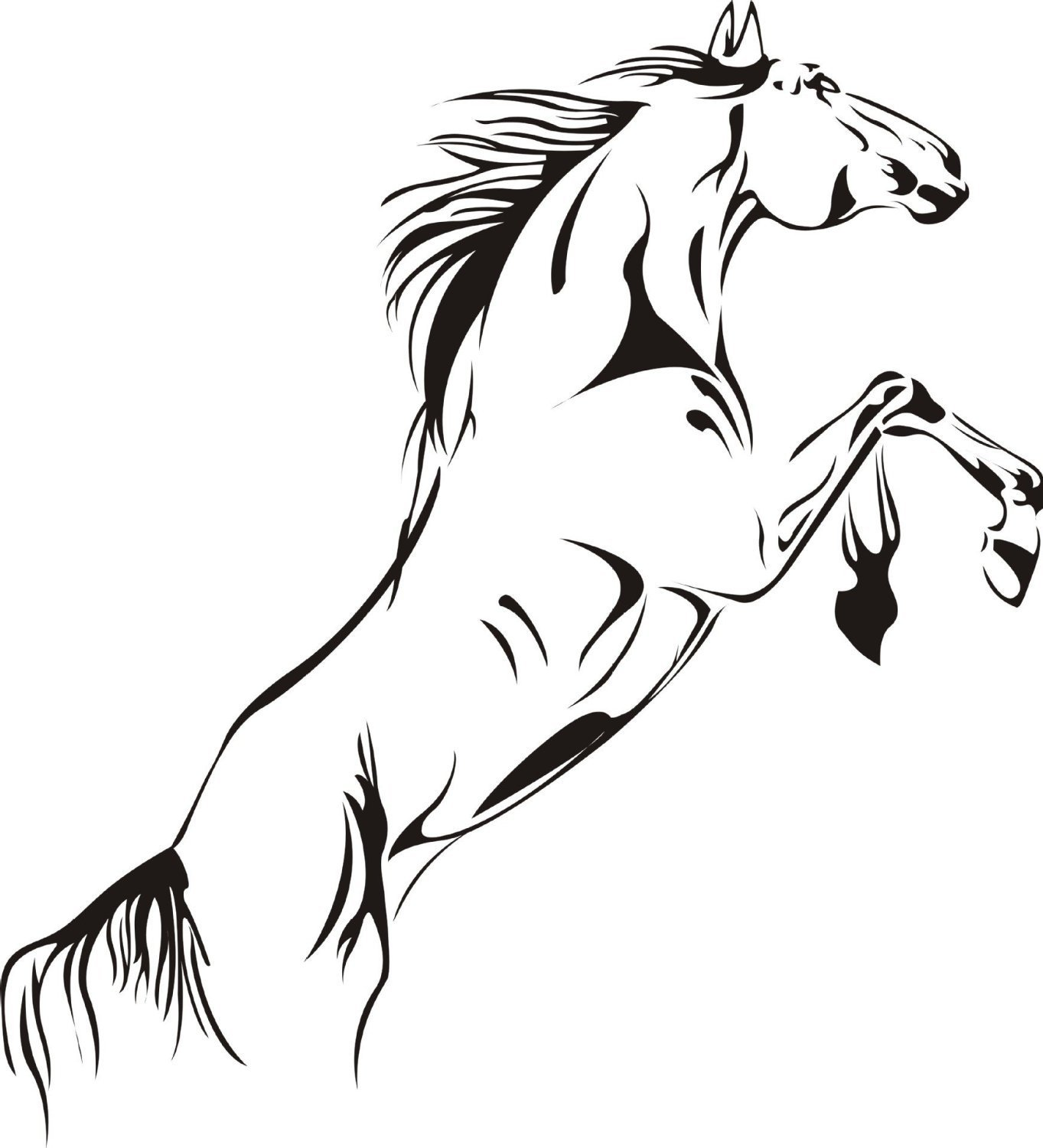 SWORNA Animal Series A Running Pale Horse Removable Vinyl Wall Art Decals Decor Wall Mural Decal Stickers for Bedroom/Living Room/Playroom/Office/Home Office/Sitting Room/Kindergarten/Classroom DIY Wall Art Decoration (18 Inch Height X 24 Inch Width, Matt