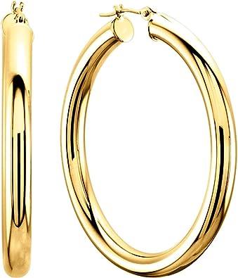 14K Yellow 25mm Tube Hoop Earrings