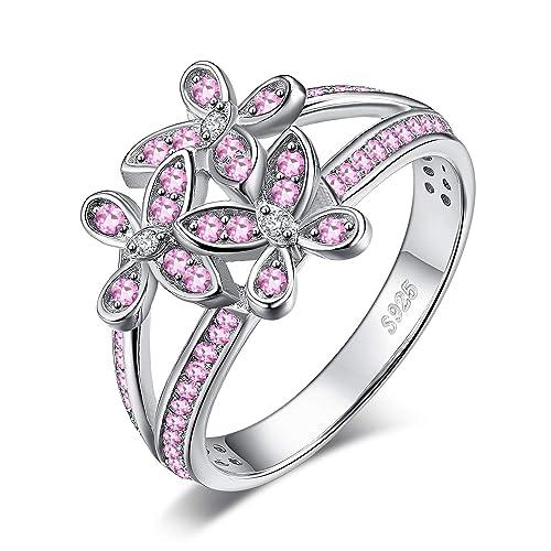 Herz Liebe Pink Saphir Cz Hochzeit Verlobung Blau Opal Sterlingsilber Ring