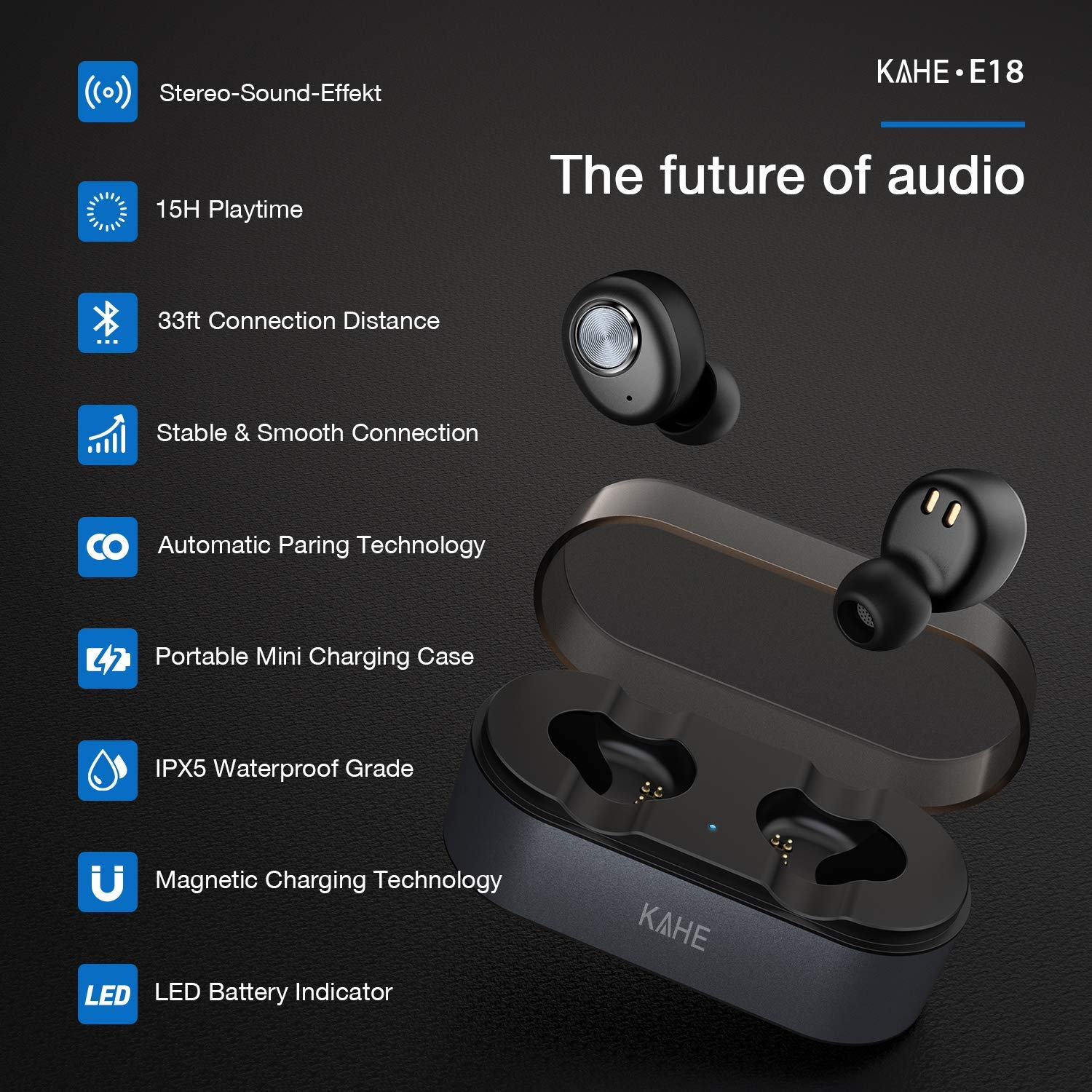 d3fced729df Amazon.com: Wireless Earbuds, KAHE E18 True Wireless Headphones Bluetooth  V5.0 Ear Buds HD Stereo Sound 15H Playtime TWS in-Ear Headset with Charging  Case, ...