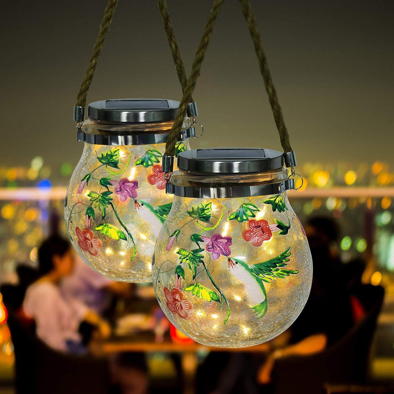 Outdoor Solar Lanterns - 2 Pack Waterproof Solar Garden Lanterns Glass Outdoor Decorative Landscape Hanging Lanterns Green Hummingbird