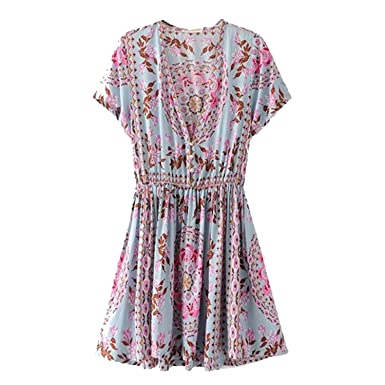 TheUniqueHouse Boho Vintage Birds Floral Print Mini Dresses Women Fashion V-Neck Short Sleeve Beach