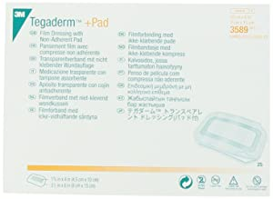 3M Tegaderm +Pad Film Dressing with Non-Adherent Pad 3589, 25 Pieces