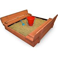 Kids Wood Sandbox With Cover – Back Bay Play Premium Wooden Outdoor Sand Box With Convertible Bench Seats – Protective Vinyl Liner Contains The Sand - Autumn Fun – Sensory Toy Promotes Learning
