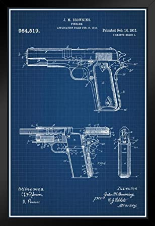 Amazon proframes 1911 handgun browning official patent proframes 1911 handgun browning official patent blueprint framed poster 12x18 malvernweather Image collections