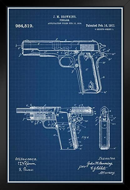 Amazon 1911 handgun browning official patent blueprint framed 1911 handgun browning official patent blueprint framed poster by proframes 14x20 inch malvernweather Images