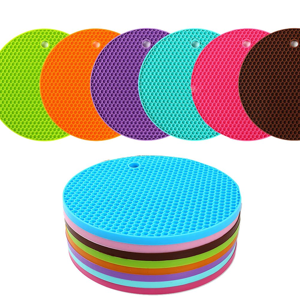 KISENG Silicone Pot Holder, Placemat(set of 6), Non-slip, Flexible, Durable, Dishwasher Safe, Heat Resistant Hot Pads(Pattern B) COMINHKPR144537