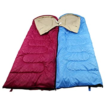 Uni Best techo saco de dormir con cabecero NS50 2 Pack Rojo Izquierda/ Derecha Azul
