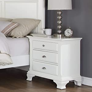 Roundhill Furniture Laveno 012 White Wood 3-Drawer Night Stand