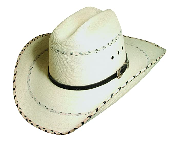 3a1c3c6e88430 Image Unavailable. Image not available for. Colour  Blue Chair Bay Mens Kenny  Chesney Signature Palm Leaf and Leather Cowboy Hat