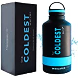 The Coldest Water Bottle 64 oz Wide Mouth Vacuum Insulated Stainless Steel Hydro Travel Mug - Ice Cold Up to 36 Hrs/Hot 13 Hrs Double Walled Flask - With Strong Cap