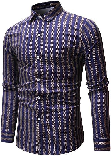 Sencillo Vida Camisas de Hombre de Vestir Rayas Manga Larga Camisas de Hombre Delgada Slim Fit Camisa Hombres Casual Formales Clásico Cuello de Solapa con Botones Camiseta Poloshirt: Amazon.es: Ropa y accesorios