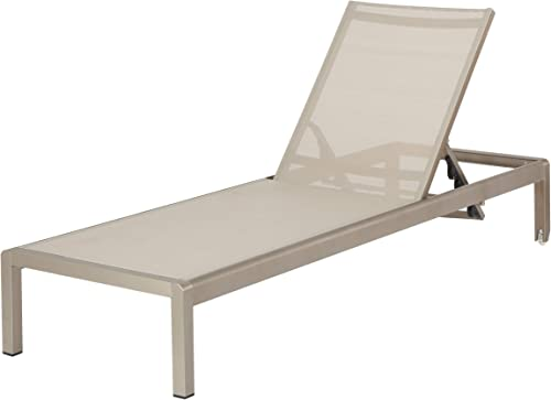 Christopher Knight Home Cape Coral KD Outdoor Mesh Chaise Lounge, Gray