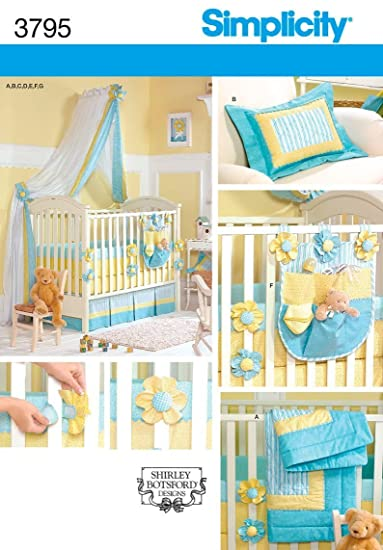 SIMPLICITY 3795 BABY NURSERY ACCESSORIES ~ BEDDING, BUMPERS, DUST RUFFLE,...