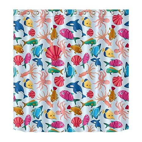 Amazon.com: LB Pink Blue Colorful Sea Fish Shower Curtain 3D Digital ...