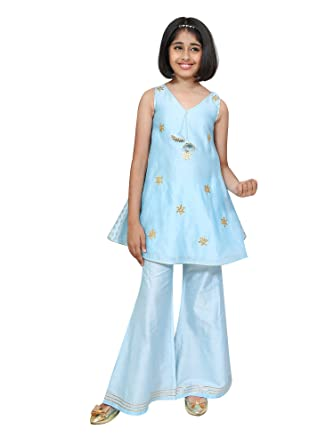 7b29c5b9 Chiquitita By Payal Bahl Girl's Indian Gota Patti Sharara For Kids Chq 17  Ish 23B: Amazon.in: Clothing & Accessories