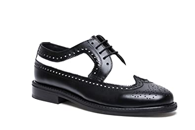 b2fa3c3ba588 Brentano Black White Wingtip Spectator Vintage Style Brogue Shoes for Men  (6M)