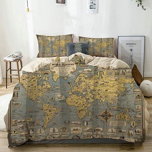 Retro-nostalgic World Map Bedding Set Duvet Cover Comforter Cover Pillow Case